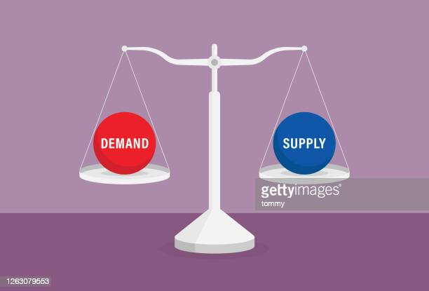 supply and demand on the balance scale - price gouging stock illustrations