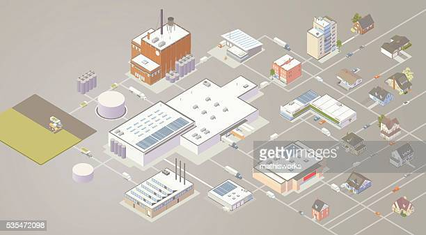 supply chain diagram illustration - mathisworks business stock illustrations