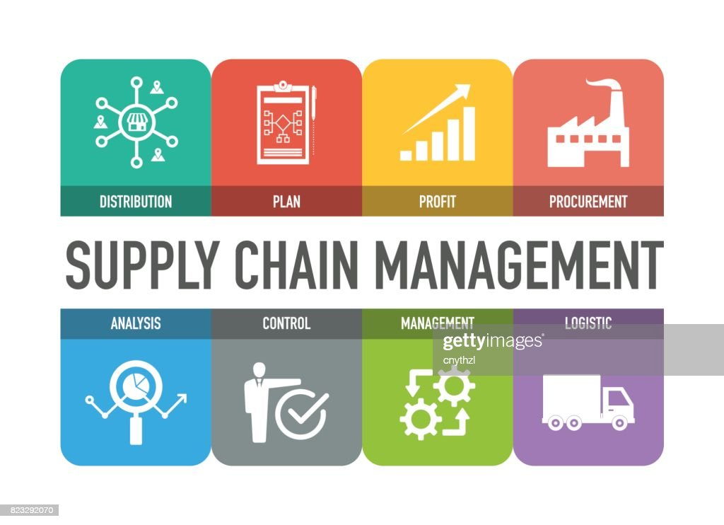 Supply Chain Management Colorful Icons Set