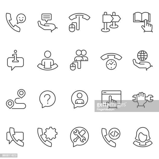 support icon set - remote location stock illustrations