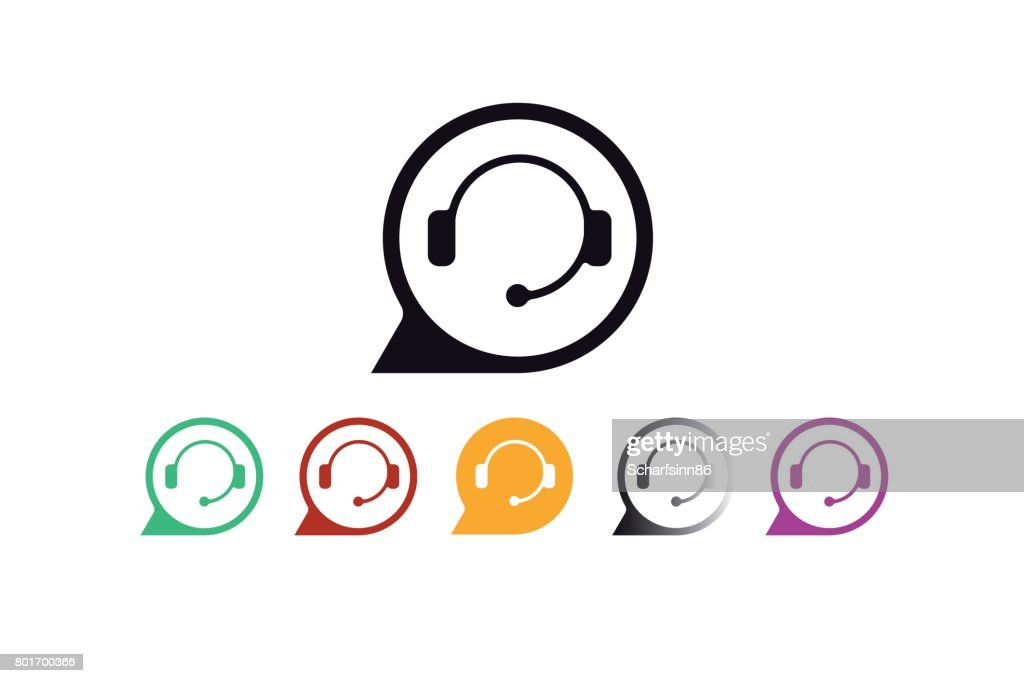 Support service and telemarketing vector icon set.