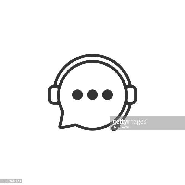 support service icon. headphones and chat bubble vector design. - vitality stock illustrations