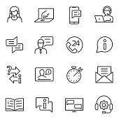 Support service linear icons. Line with editable stroke.