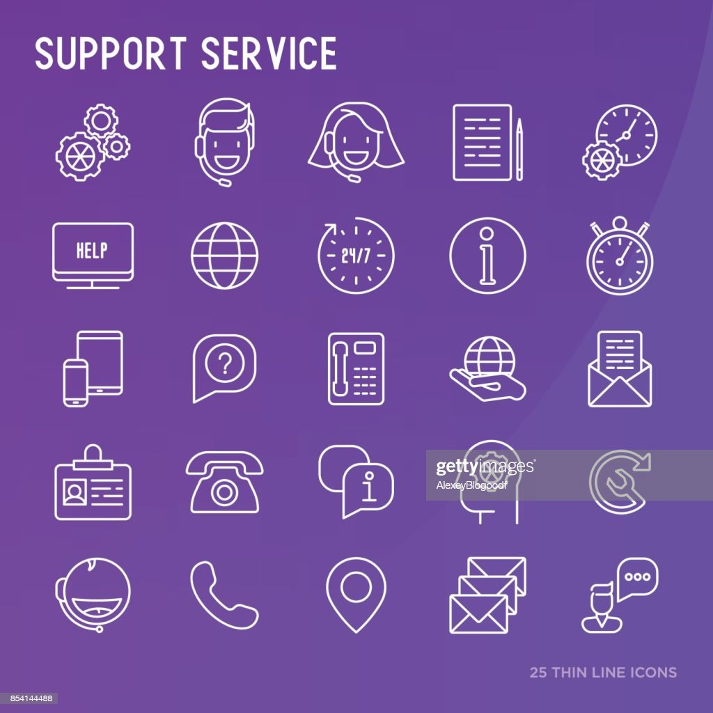 Support service or call center thin line icons set. Modern vector illustration.