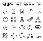 Support service related vector icon set