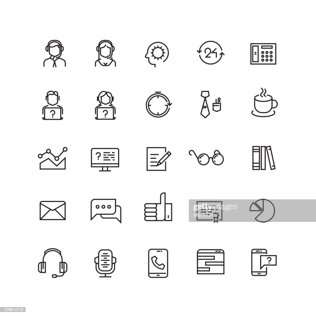 Support service, telemarketing, contact us vector line icons