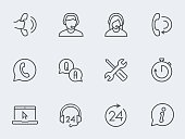 Support service vector icon set, thin line design