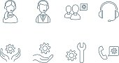 Support set of linear icons
