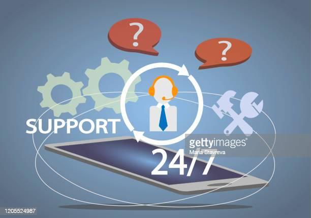 24/7サポート - 24時間営業点のイラスト素材/クリップアート素材/マンガ素材/アイコン素材