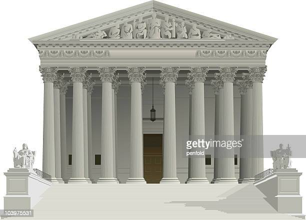us supreme court building - courthouse stock illustrations, clip art, cartoons, & icons