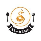supreme spaghetti logo with s letter typography design