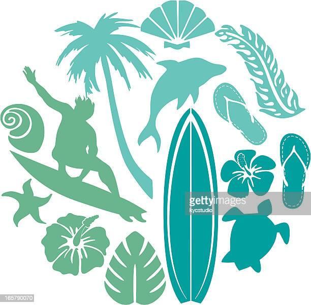 ilustraciones, imágenes clip art, dibujos animados e iconos de stock de surf y la composición de la playa - tabla de surf