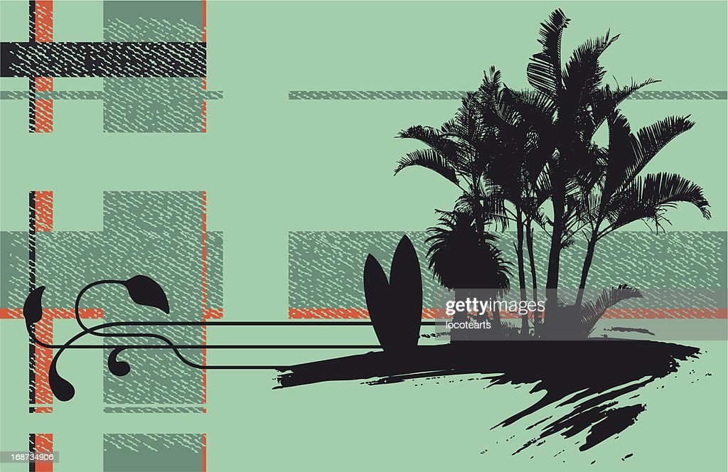 surf banner with palm table and grunge background