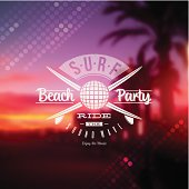 Surf beach party type sign against a tropical sundown background