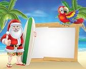 Surf Board Santa Tropical Beach Sign