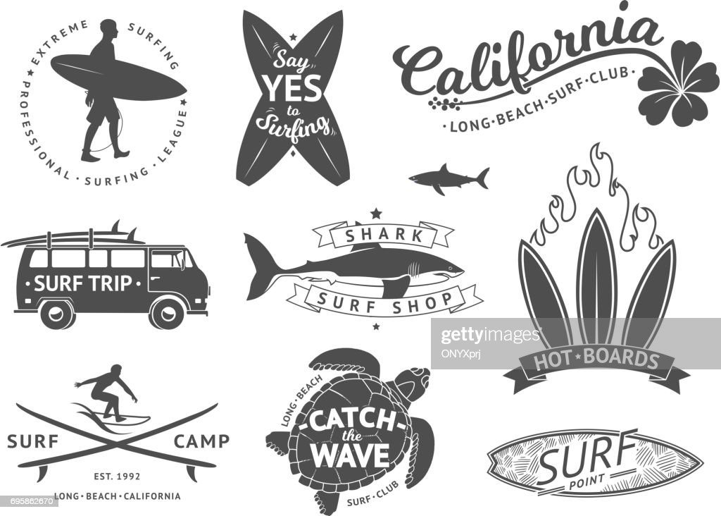 Surf boards emblem and badges vector set. Signs and elements for summer labels design