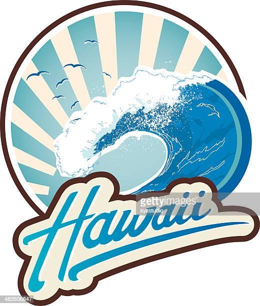 surf emblem hawaii - surfing stock illustrations, clip art, cartoons, & icons