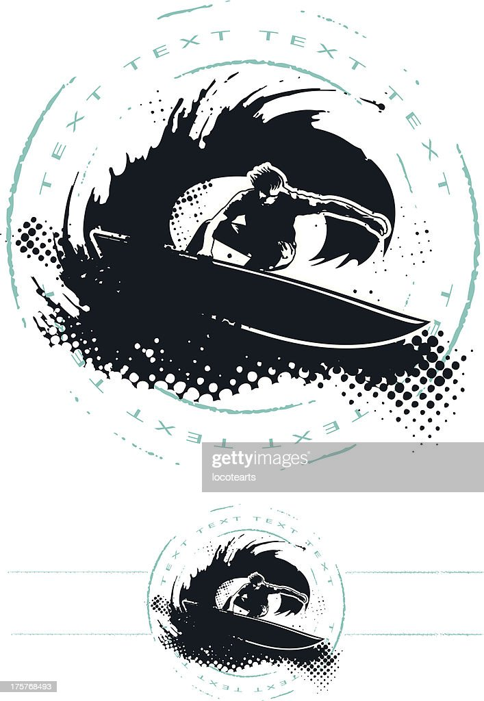 surf grunge circle with surfer in wave