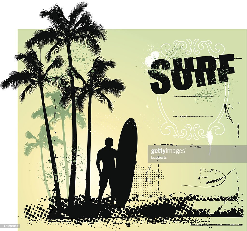 surf grunge scene with surfer and gradient background