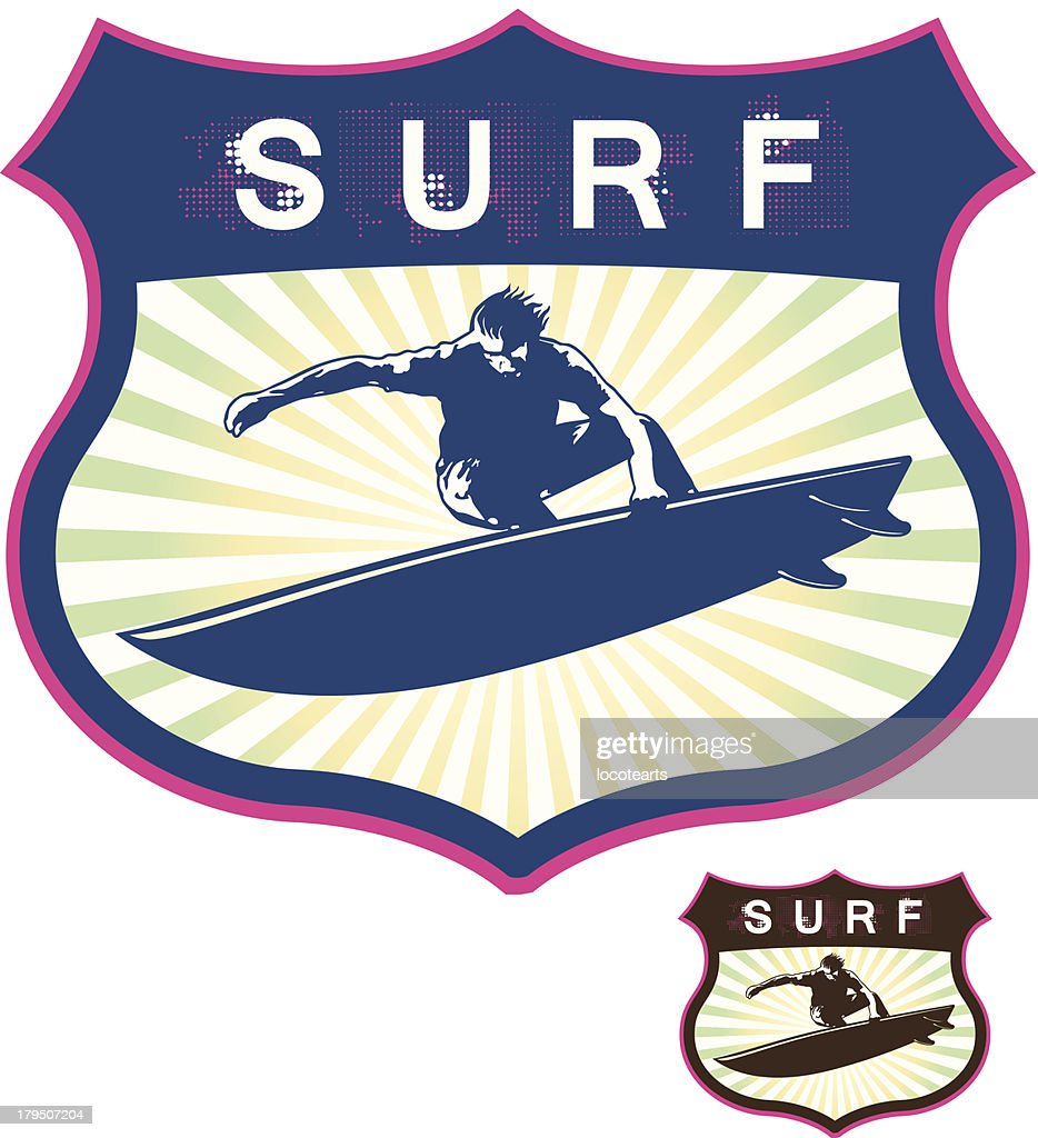 surf grunge shield with surfer jumping