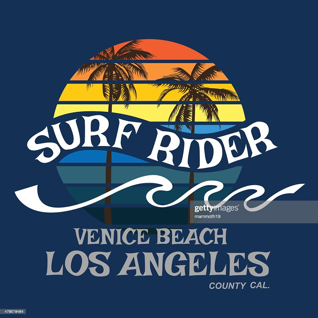 Surf rider California typography, t-shirt graphics, vector format eps10