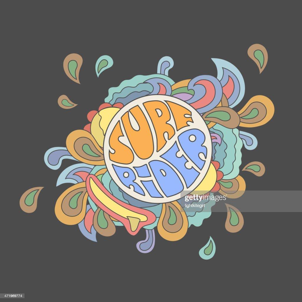 Surf rider  typography, t-shirt graphics, vector