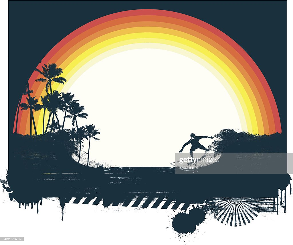 surf scene with beauty rainbow