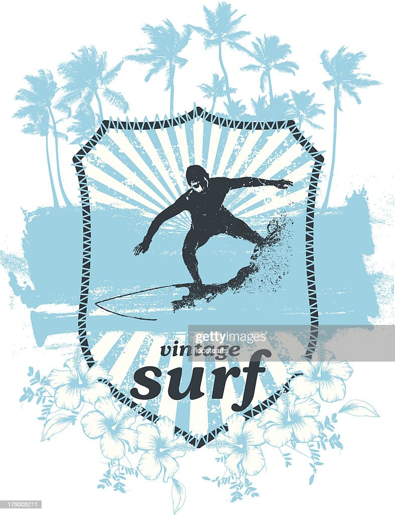 surf shield with rider and grunge vintage background