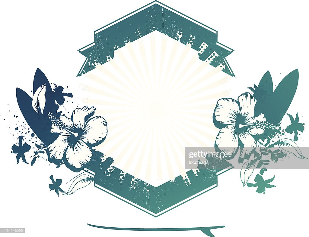 surf shield with tables and hibiscus : Vector Art
