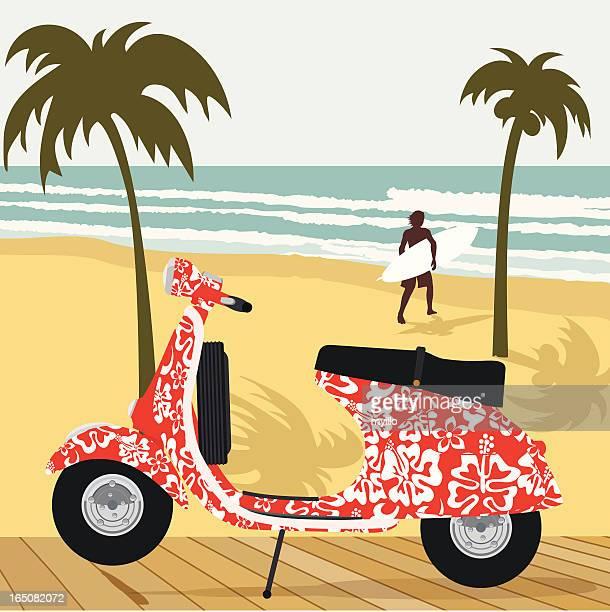 surf vespa - vespa stock illustrations, clip art, cartoons, & icons