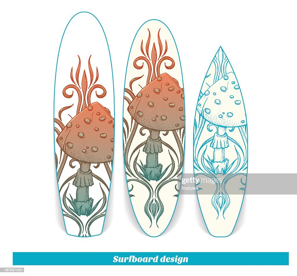 Surfboard Design Abstract Mushroom Two Stock Vector Getty Images