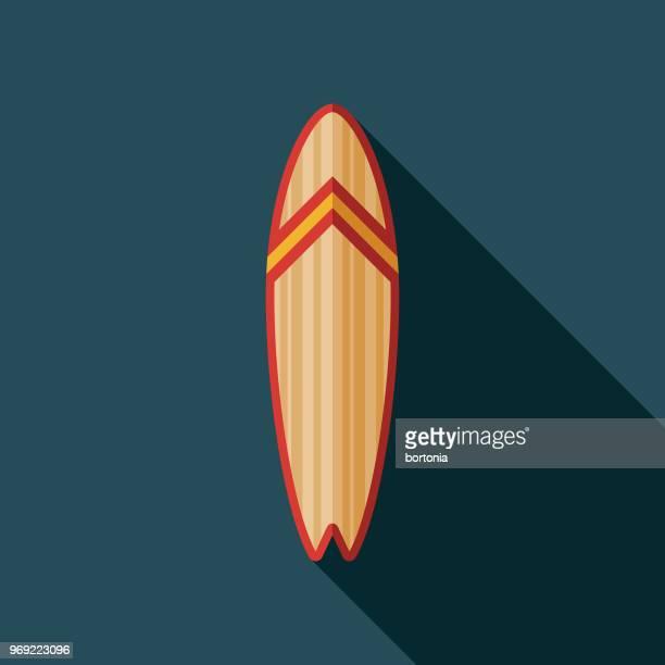 illustrations, cliparts, dessins animés et icônes de planche de surf design plat été icône avec côté ombre - planche de surf