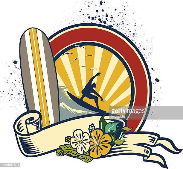Surfboard Flowered Emblem