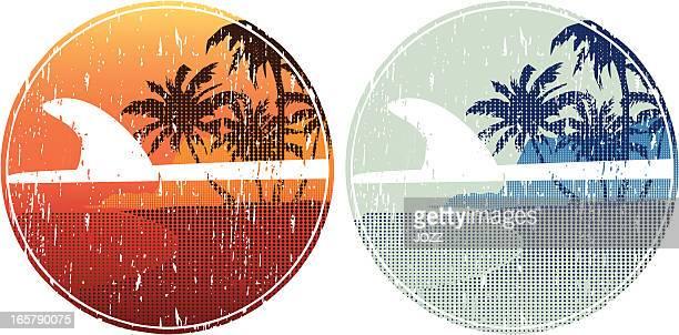 surfboard island - diving flipper stock illustrations, clip art, cartoons, & icons