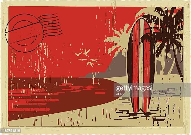 ilustraciones, imágenes clip art, dibujos animados e iconos de stock de postal de la tabla de surf - tabla de surf