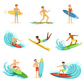 Surfboarders riding on waves set, surfer men with surfboards in different poses vector Illustrations