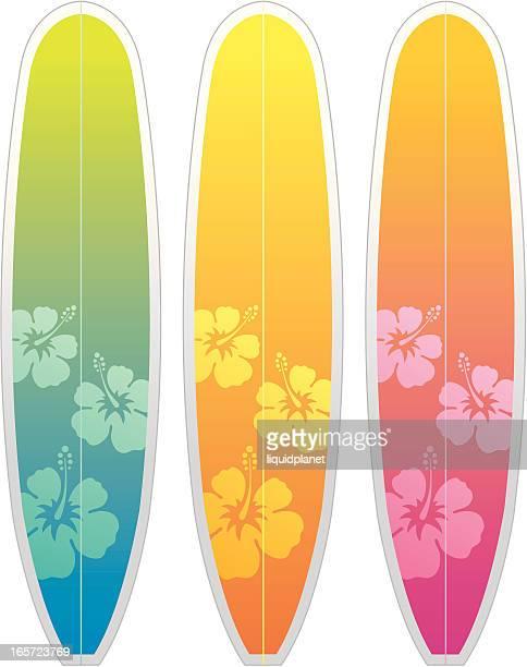 ilustraciones, imágenes clip art, dibujos animados e iconos de stock de hibiscus surfboards estilo - tabla de surf