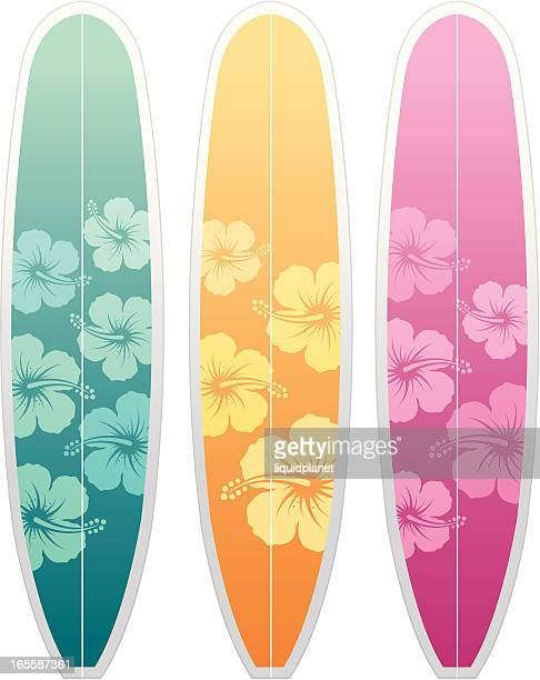 illustrations, cliparts, dessins animés et icônes de planches de surf hibiscus - planche de surf