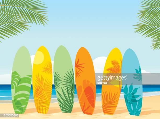 surfboards on the beach - surfboard stock illustrations