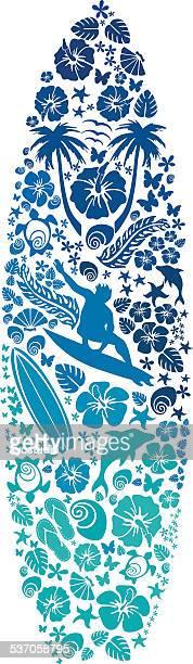 ilustraciones, imágenes clip art, dibujos animados e iconos de stock de surfborad hecho de iconos de surf - tabla de surf