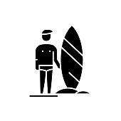 Surfer black icon, vector sign on isolated background. Surfer concept symbol, illustration