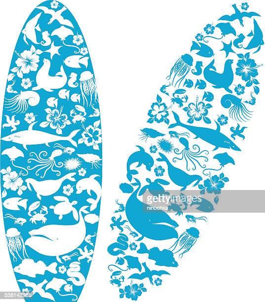 ilustrações, clipart, desenhos animados e ícones de pranchas de surfe - organismo aquático