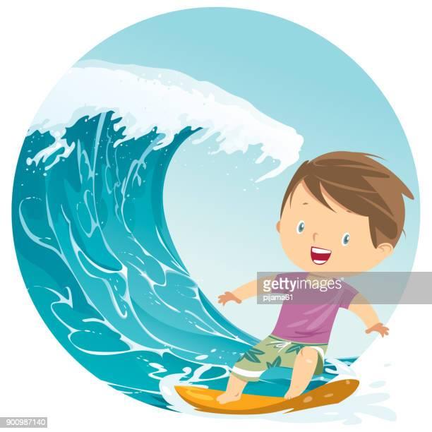 ilustrações, clipart, desenhos animados e ícones de surfista menino andando de onda de verão - esportes extremos