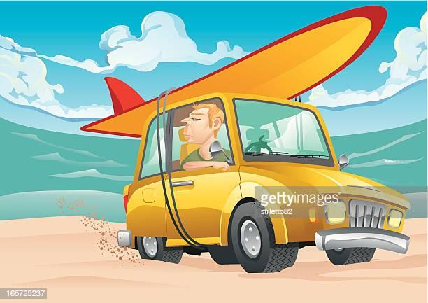 illustrations, cliparts, dessins animés et icônes de surfeur de voiture - planche de surf