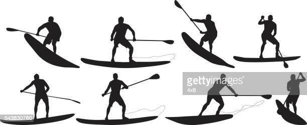 Surfer in various actions