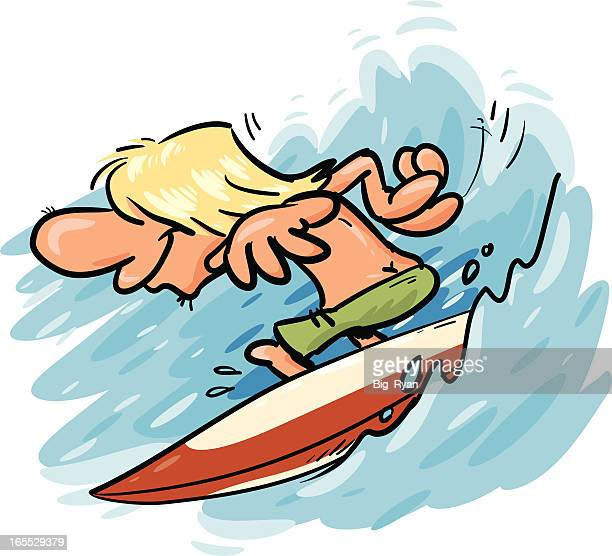 surfer toon - buttocks stock illustrations, clip art, cartoons, & icons