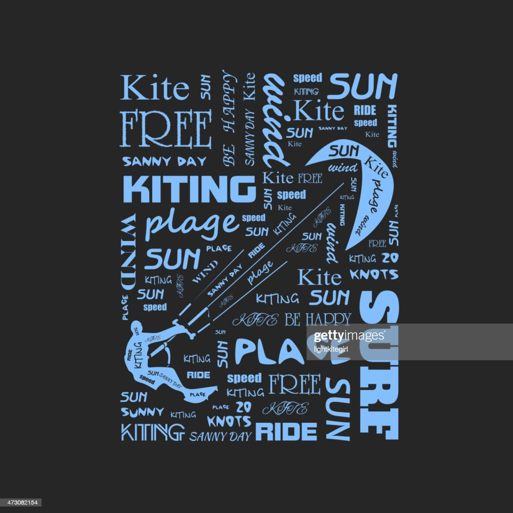 Surfer  t-shirt graphics with kite.  poster