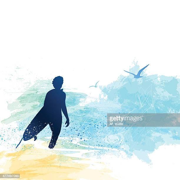 surfer - surfboard stock illustrations