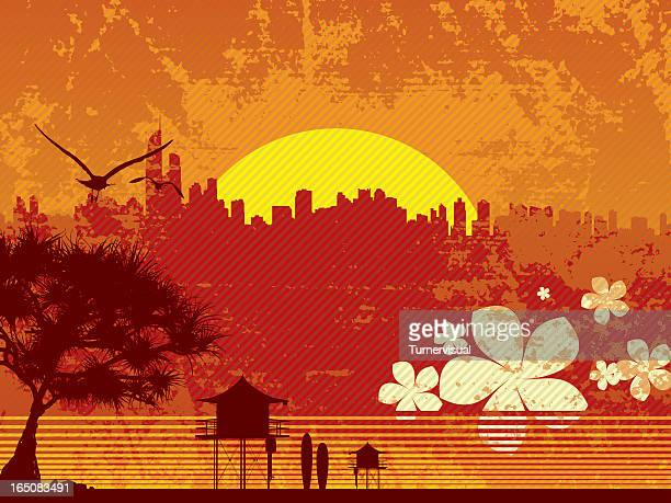surfers paradise - gold coast queensland stock illustrations