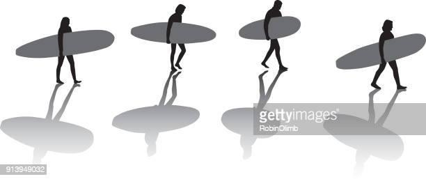 Surfers Silhouetes